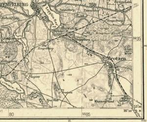fot. 3 Mapa Tempelburga z linią kolejową Czaplinek - Jastrowie
