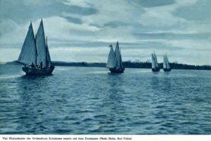 Ordensjunkrzy ćwiczą na jeziorze Drawsko - kotwica może pochodzić z ich łodzi