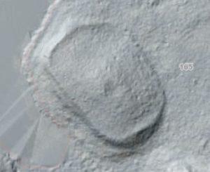 Struktura odkryta nad jez. Drawsko to wczesnośredniowieczne grodzisko. Kiedyś była to wyspa. Fot. LIDAR.