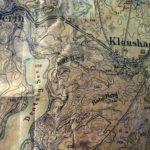 Mapa z początku XX w - fragment jez. Drawsko z cyplem na końcu Zatoki Kluczewskej. Mapa przechowywana w Izbie Muzealnej w Czaplinku