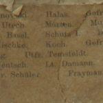 Na zdj.: Fragment zdjęcia zawierający nazwiska. Wśród nich są także polsko brzmiące, jak Grzonka, Szachnowski, Halas, Lewandowski, Zdrojewzki, Kubicz, czy Radzicki.