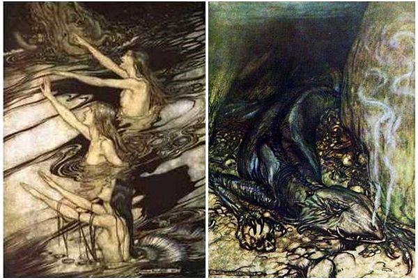 Kąpiące się syreny i Lindwurm. Ilustracje autorstwa A. Rackhama